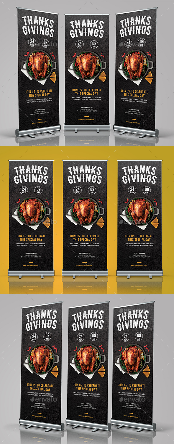 Thanksgiving Roll Banner - Signage Print Templates