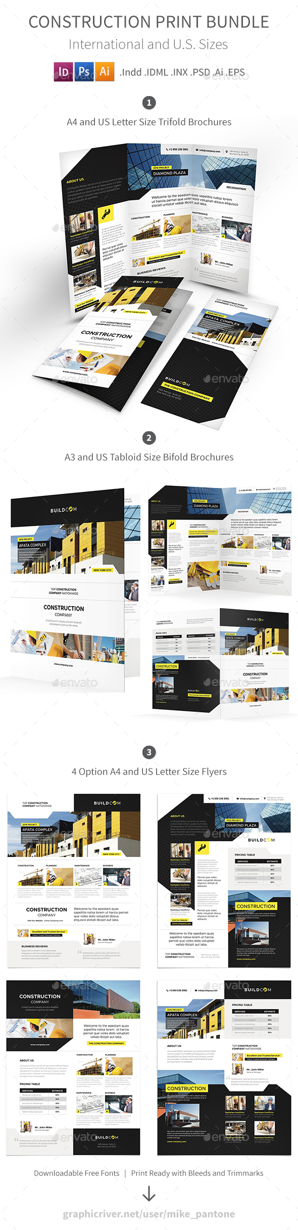 Construction Company Print Bundle 2 - Corporate Brochures
