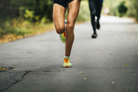 leader of marathon young athlete runner - Stock Photo - Images