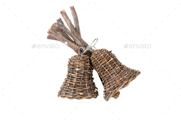 Wooden Christmas bells isolated - Stock Photo - Images