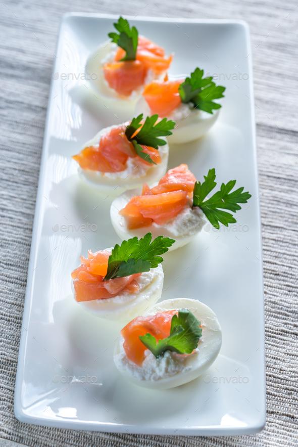 Salmon cream cheese deviled eggs - Stock Photo - Images