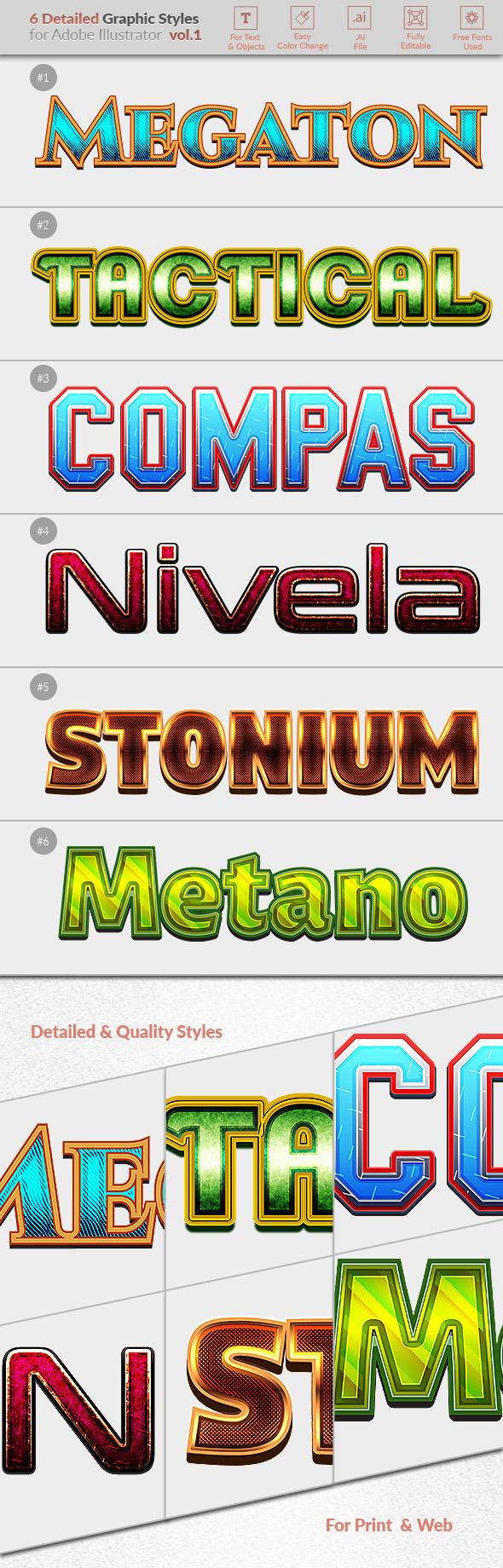 6 Detailed Graphic Styles for Illustrator vol.01 - Styles Illustrator
