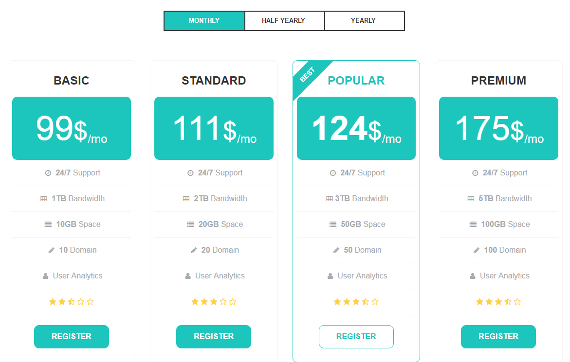 Amazing Pure HTML CSS Pricing Tables