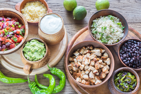 Ingredients for chicken burrito bowl - Stock Photo - Images