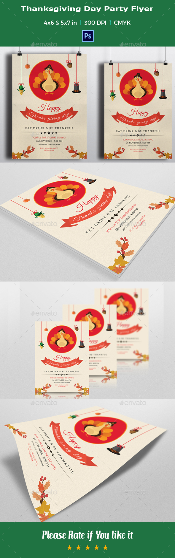 Thanksgiving Day Party Flyer Template-V02 - Events Flyers