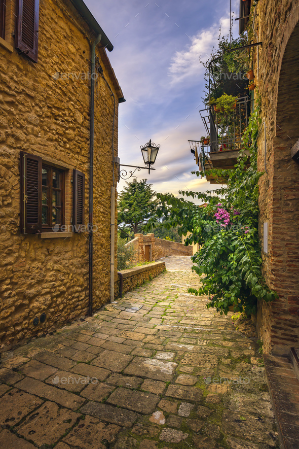Casale Marittimo old stone village in Maremma. Picturesque flowe - Stock Photo - Images