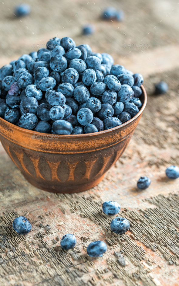 Bowl of fresh blueberries - Stock Photo - Images