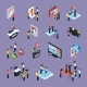 Reporters Isometric Icons Set - GraphicRiver Item for Sale