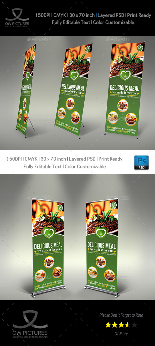 Restaurant  Rollup Signage Template Vol.8 - Signage Print Templates