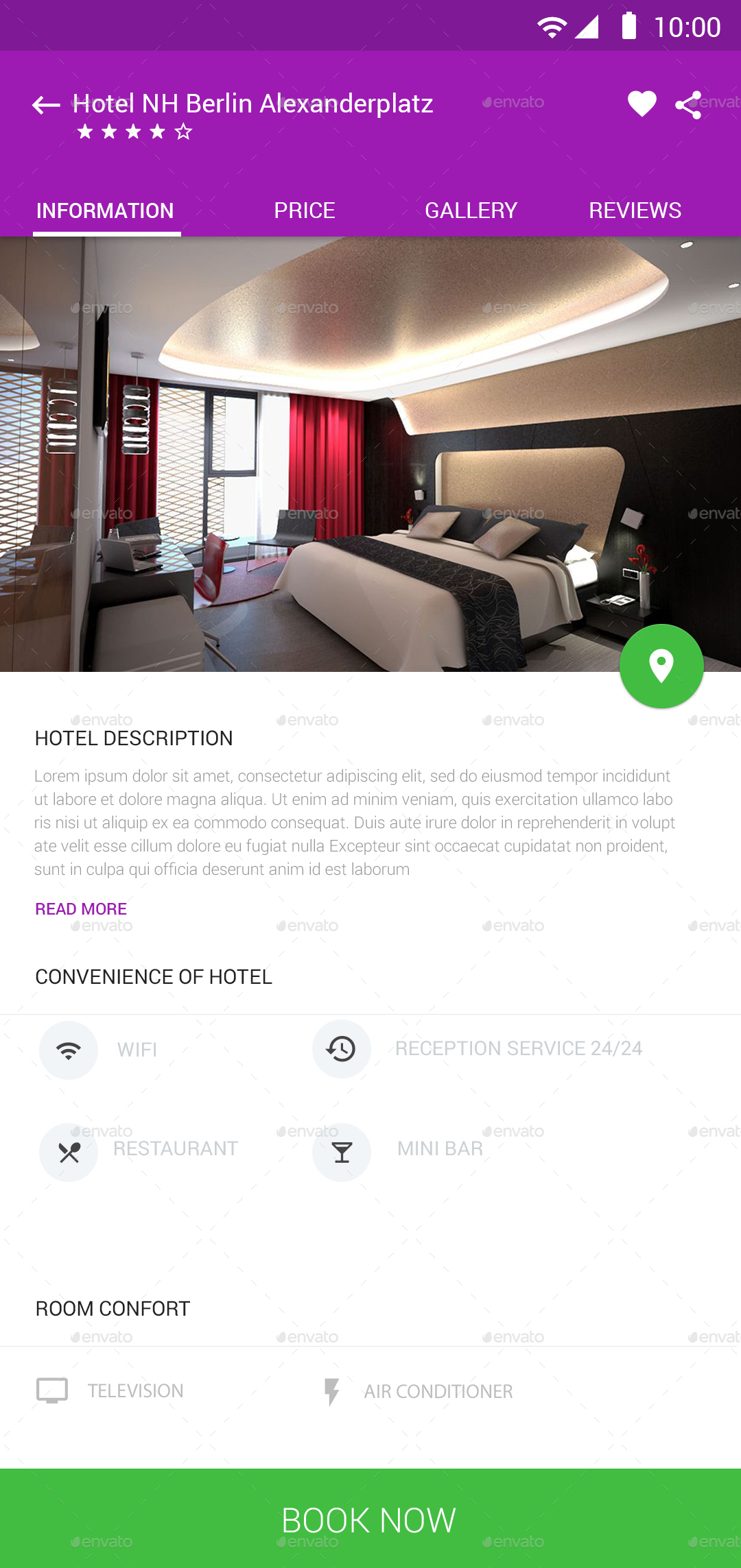 Hotel booking material ui by design grapahma graphicriver for Booking design hotel