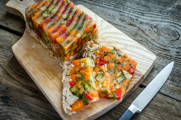 Chicken galantine with vegetables - Stock Photo - Images