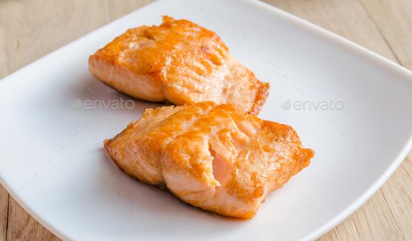 Roasted salmon steak - Stock Photo - Images
