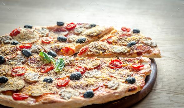 Homemade Regina pizza - Stock Photo - Images