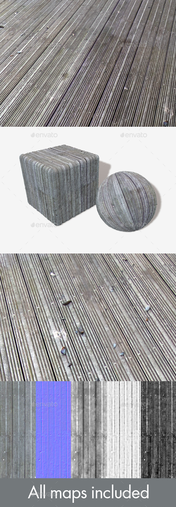 Oceanside Wooden Decking Seamless Texture - 3DOcean Item for Sale