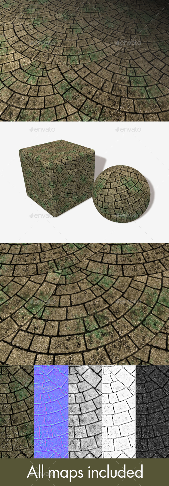 Mossy Brick Paving Circle Pattern Seamless Texture - 3DOcean Item for Sale
