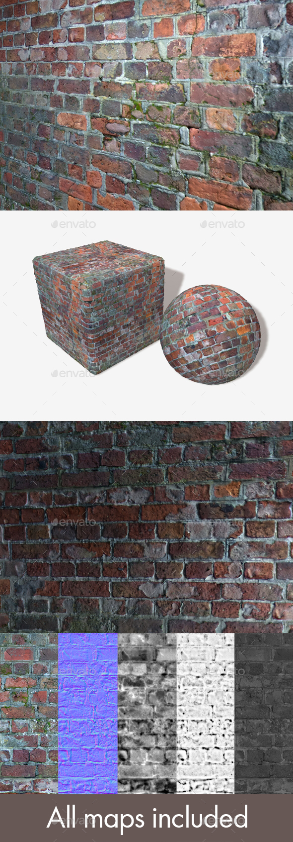Damaged Re Cemented Bricks Seamless Texture - 3DOcean Item for Sale