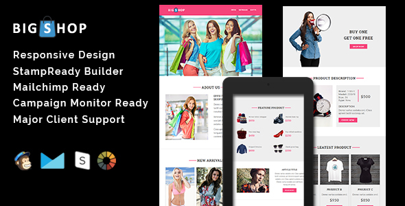 BIGSHOP – Responsive Email Template + Stamp Ready Builder