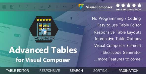 Tablenator - Advanced Tables for Visual Composer - CodeCanyon Item for Sale
