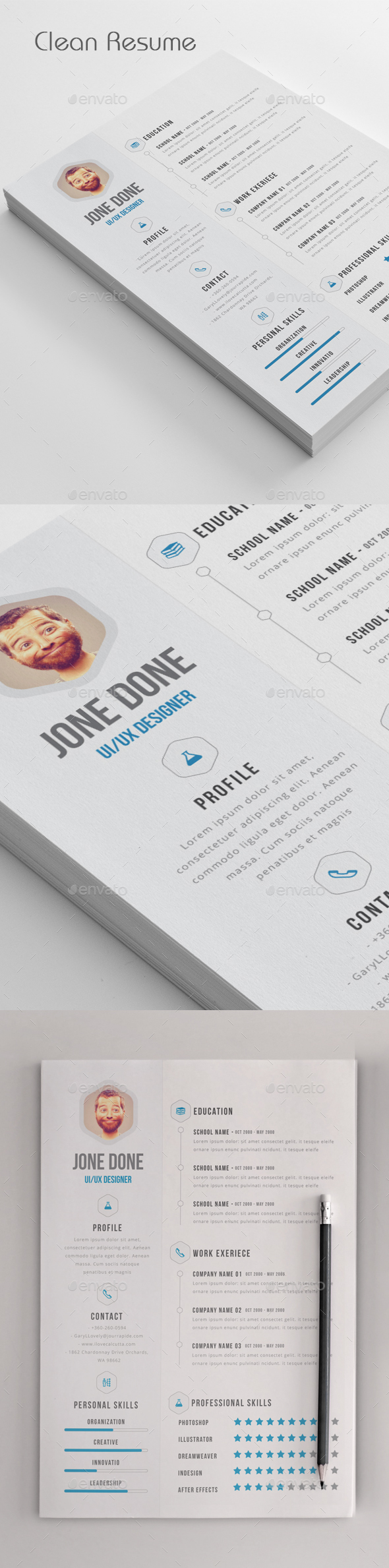 Clean Resume - Resumes Stationery