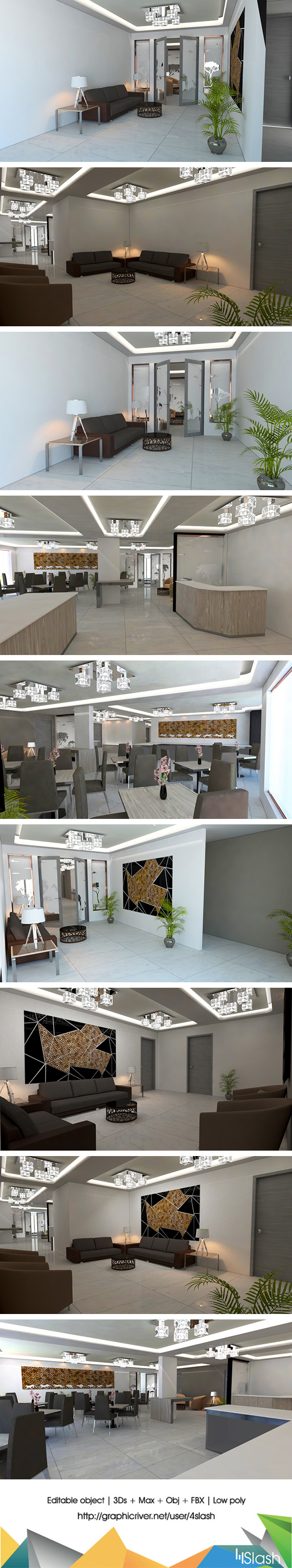 3d Office Interior - 3DOcean Item for Sale