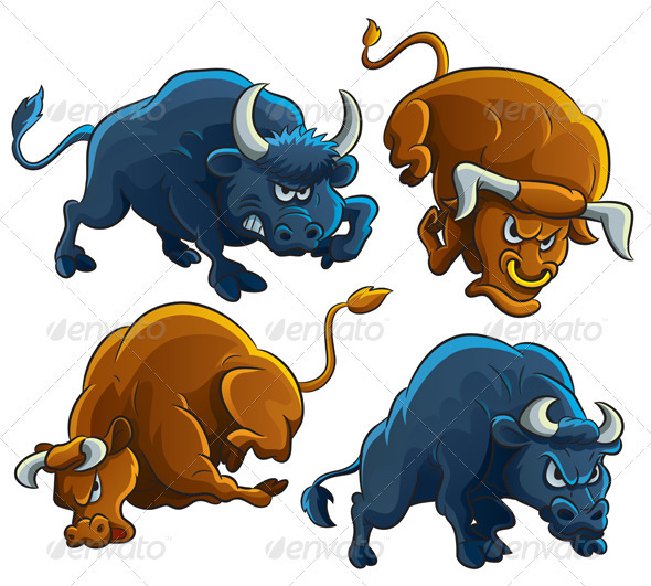Angry Bulls - Animals Characters