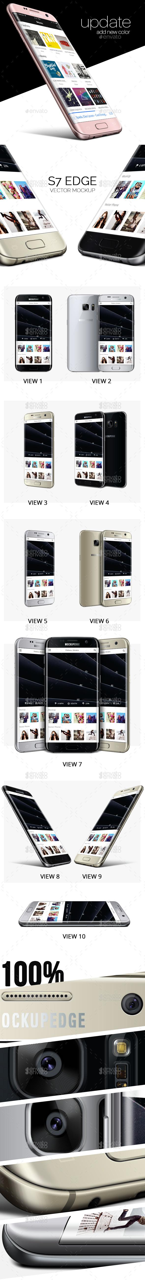 Galaxy S7 Edge Vector Mockup - Product Mock-Ups Graphics