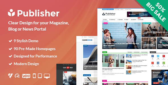 Publisher – Magazine, Blog, Newspaper and Review WordPress Theme