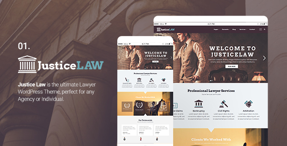 JusticeLAW – Corporate WordPress Theme for Lawyers Attorneys and Law Firms
