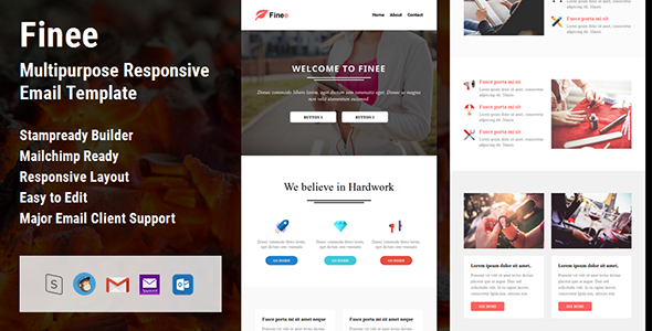 Finee – Multipurpose Responsive Email Template + Stampready Builder
