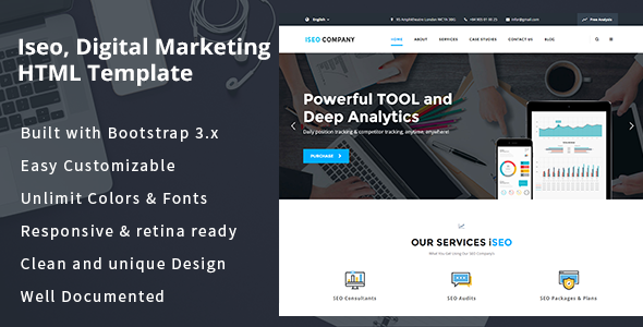 iSeo, Digital Marketing, Social Media HTML Template