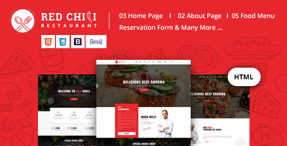 Red Chili - Restaurant HTML5 Template by RadiusTheme | ThemeForest