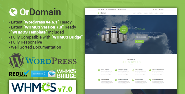 OrDomain | Responsive WHMCS Hosting WordPress Theme
