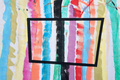 Obtuse rectangle over colorful striped painting