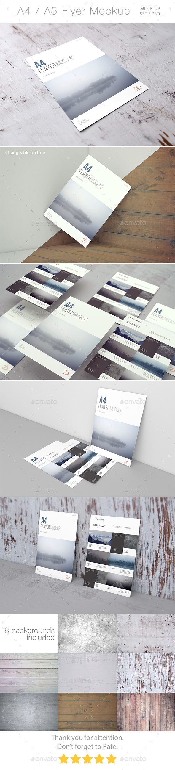A4 / A5 Flyer Mockup - Product Mock-Ups Graphics