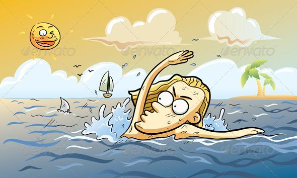 Shark Attack at Summer - Characters Vectors