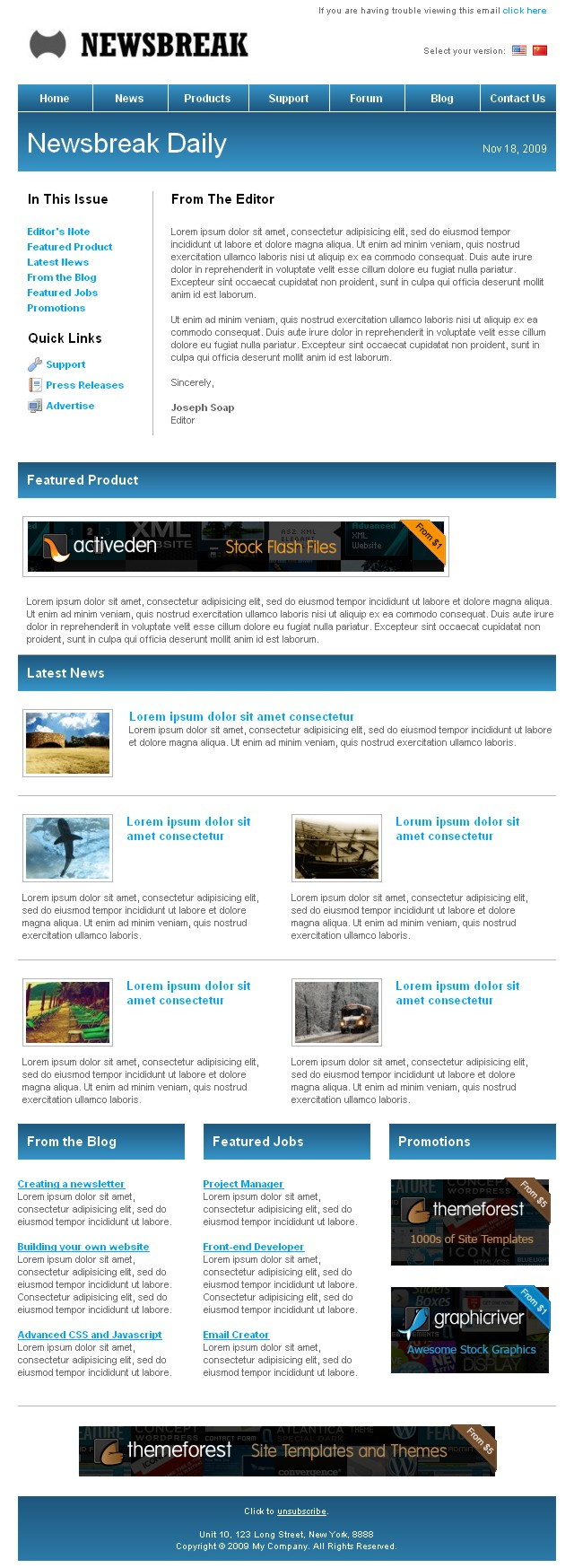 Free Download Newsbreak - Corporate Email Template Nulled Latest Version