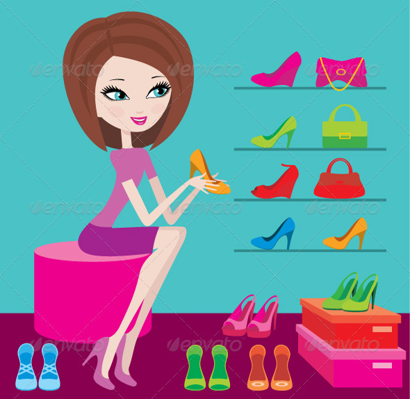 Shop of Female Footwear - Characters Vectors