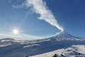 Winter View of Eruption Active Klyuchevskoy Volcano. Kamchatka - PhotoDune Item for Sale