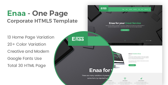 Enaa – One Page Corporate HTML5 Template