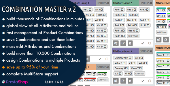 Combination Master - Build & Manage Thousands of Combinations in Prestashop - CodeCanyon Item for Sale