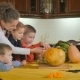 Three Children And Mother Preparing To Halloween - VideoHive Item for Sale