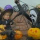Woman In Scary Mask Fool With Girl On Helloween - VideoHive Item for Sale