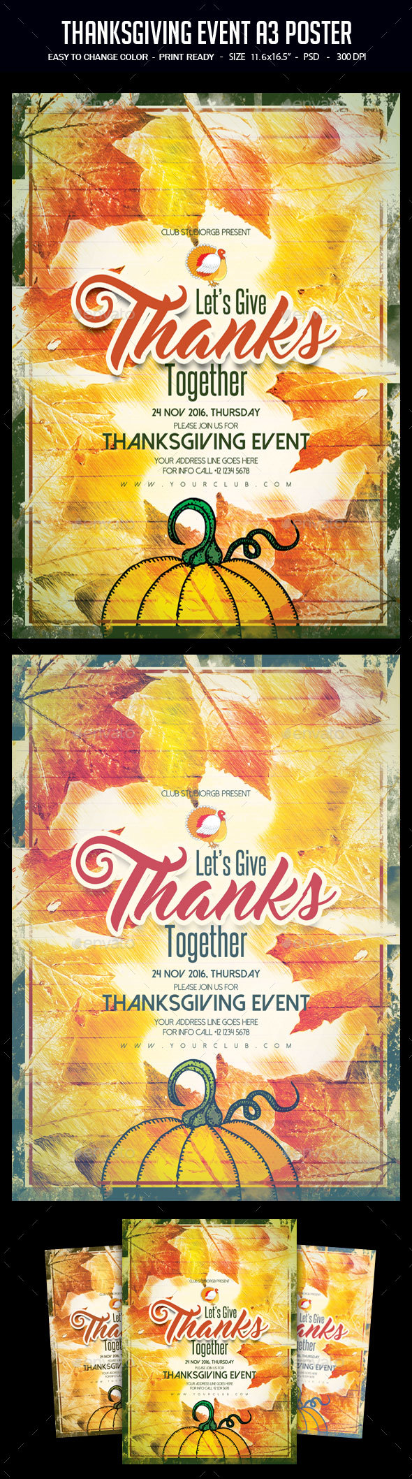 Thanksgiving Event A3 Poster - Clubs & Parties Events