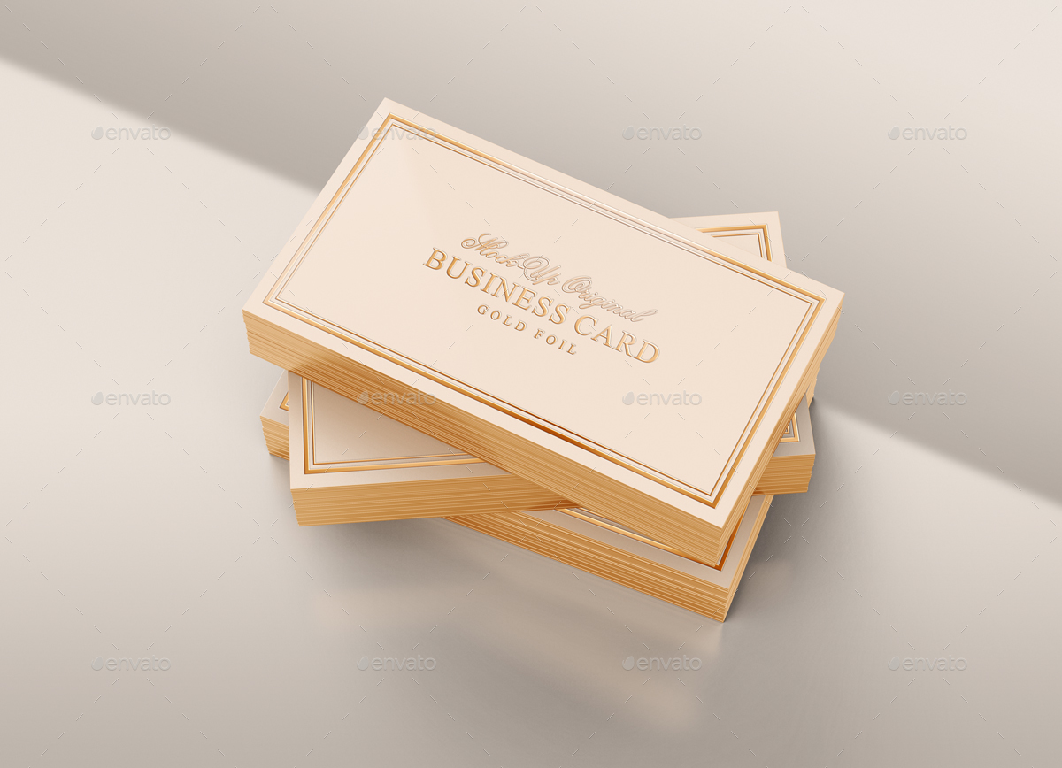 Gold Foil Business Card Mock-Up by tirapir | GraphicRiver