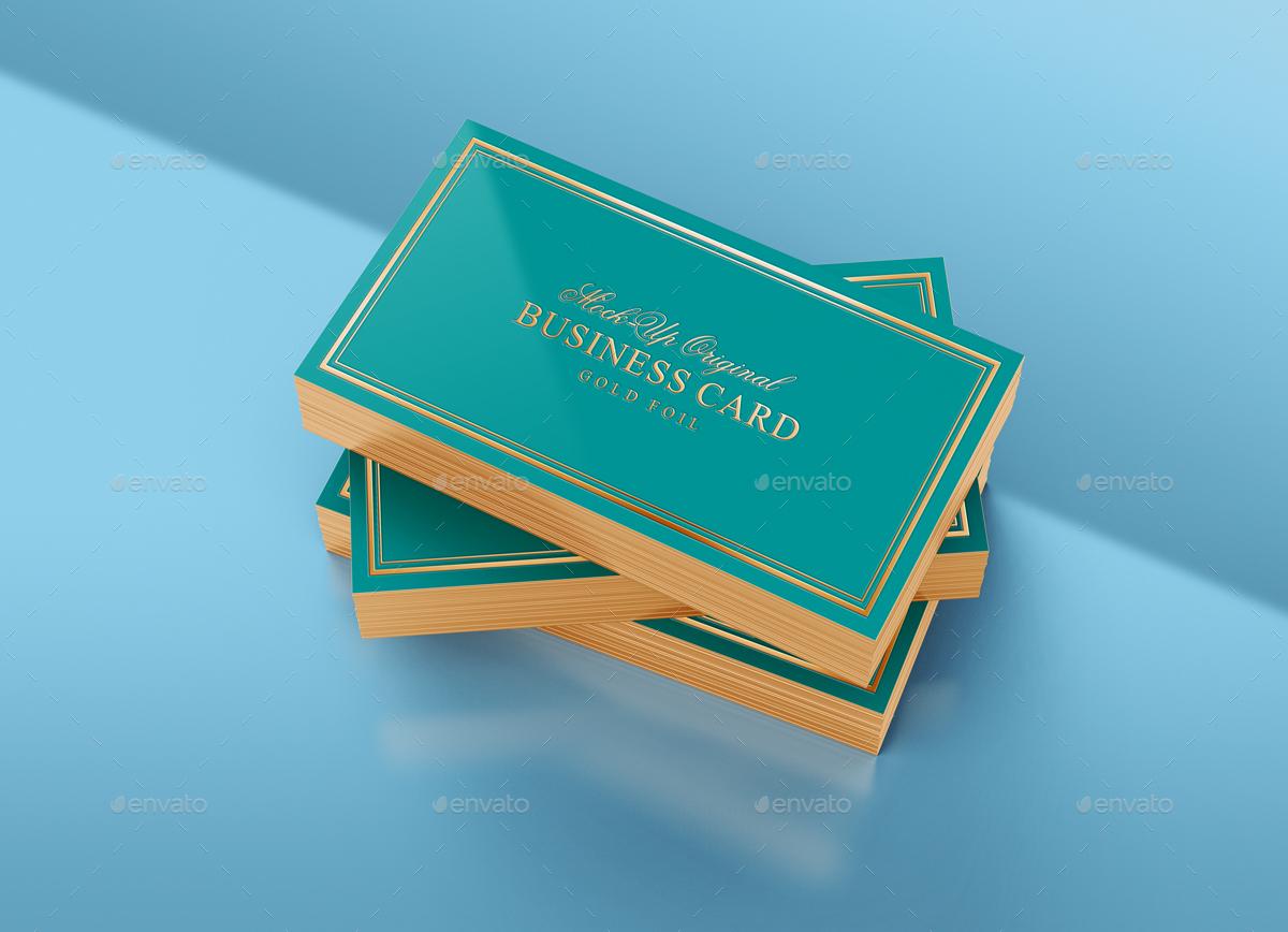 Gold Foil Business Card Mock Up by tirapir