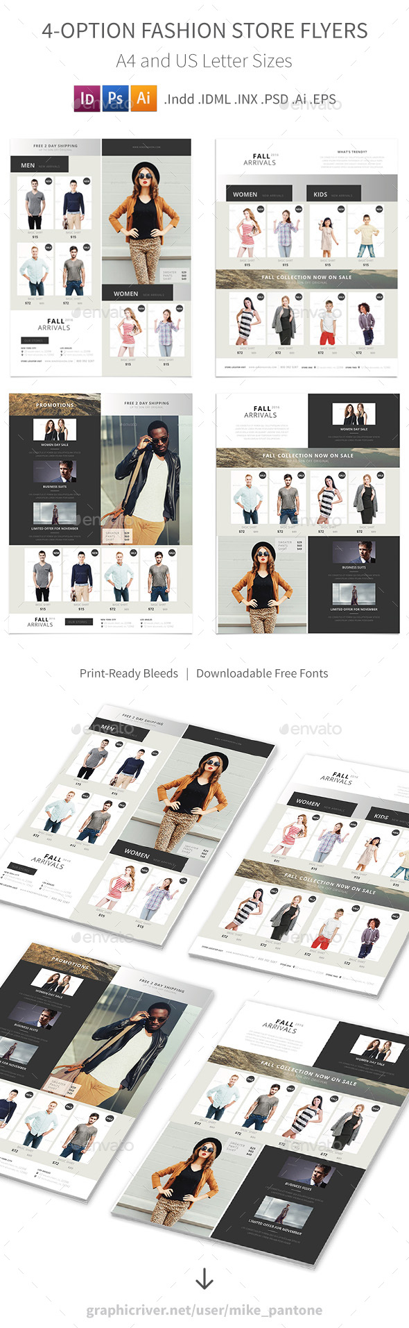 Fashion Store Flyers 4 Options - Commerce Flyers