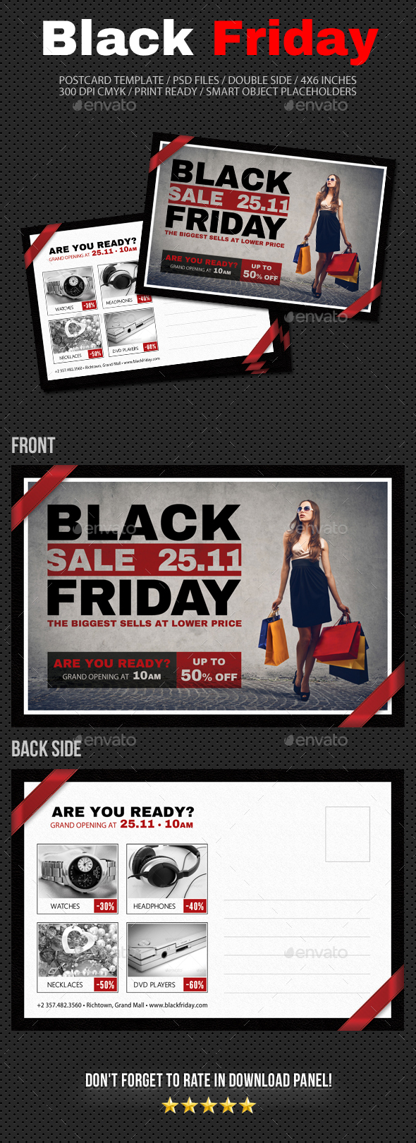 Black Friday Postcard Template V04 - Cards & Invites Print Templates