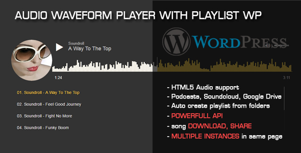 Audio Waveform Player with Playlist WP Plugin - CodeCanyon Item for Sale