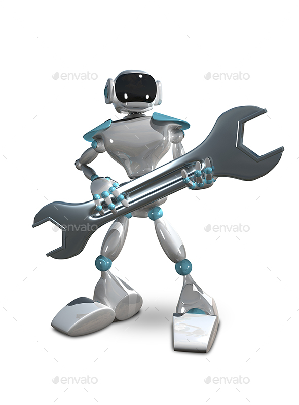 3D Illustration of Robot with Wrench - Technology 3D Renders