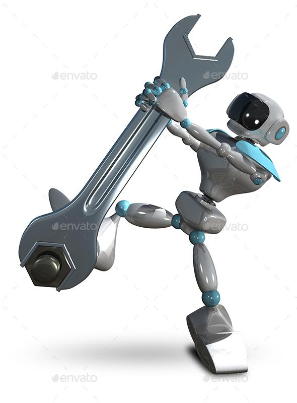 3D Illustration Robot Tighten the Screws - Technology 3D Renders